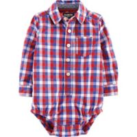 OshKosh B'gosh® Size 18M Checkered Woven Bodysuit in Red