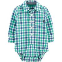 OshKosh B'gosh® Size 6M Gingham Woven Bodysuit in Blue/Green
