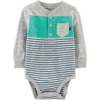 OshKosh B'gosh® Size 12M Striped Bodysuit in Grey/Teal/Blue