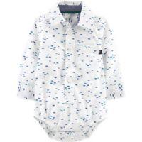 OshKosh B'gosh® Size 9M Button-Front Fish Bodysuit in White