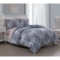 Lalit 5-Piece Reversible Twin Comforter Set in Teal/Berry