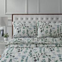 Tribeca Living Fleur Flannel 170-Thread-Count Deep Pocket King Sheet Set in Green