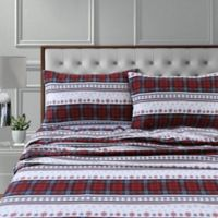 Tribeca Living 170-Thread-Count Stripe Flannel Standard Pillowcases in Deep Red (Set of 2)