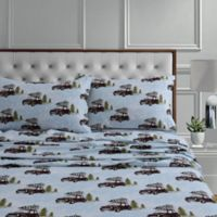 Tribeca Living 170-Thread-Count Winter Outing Flannel Deep Pocket Full Sheet Set in Blue