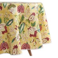 Waverly Lexie Indoor/Outdoor 70-Inch Round Tablecloth in Yellow