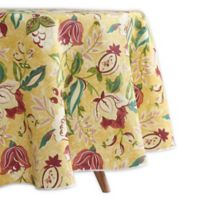 Waverly Lexie Indoor/Outdoor 60-Inch Round Tablecloth in Yellow