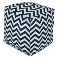 Majestic Home Goods™ Polyester Chevron Ottoman in Navy