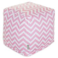 Majestic Home Goods™ Cotton Chevron Ottoman in Baby Pink