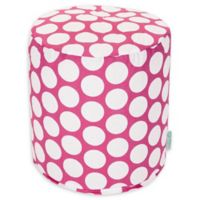 Majestic Home Goods™ Cotton Large Polka Dot Ottoman in Hot Pink