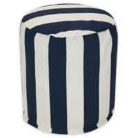Majestic Home Goods™ Polyester Vertical Stripe Ottoman in Navy