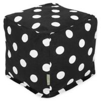 Majestic Home Goods™ Cotton Large Polka Dot Ottoman in Black