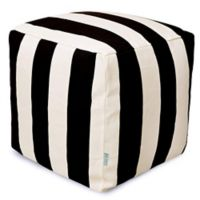 Majestic Home Goods™ Polyester Vertical Stripe Ottoman in Black