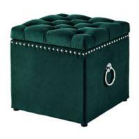 Inspired Home Agripina Ottoman in Hunter Green Velvet