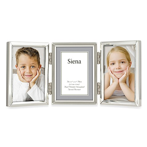 Siena Silver Plated Narrow Plain 2-Inch x 3-Inch Triple Opening Picture Frame
