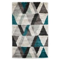 "Liora Manne Triangle 4'10"" X 7'6"" Powerloomed Area Rug in Blue"