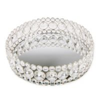 Mind Reader Large Crystal Mirror Tray in Metallic Silver