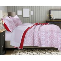 Holly Cross Stitch Reversible Twin Quilt Set in White