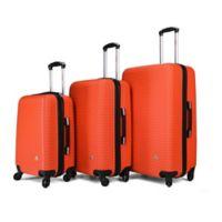 InUSA Royal 3-Piece Hardside Spinner Luggage Set in Orange