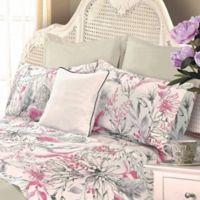 La Rochelle Wildflower 400-Thread-Count Queen Sheet Set in Pink/Grey