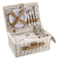 Over & Back Cafe Picnic Basket for 2 in White