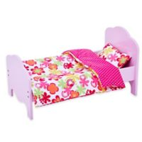 Olivia's Little World 18-Inch Doll Bed with Floral Bedding