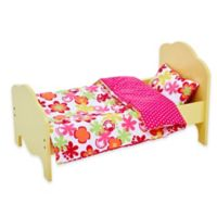 Olivia's Little World 18-Inch Doll Bed with Tropical Floral Bedding