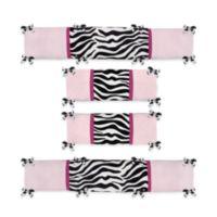 Sweet Jojo Designs Funky Zebra 4-Piece Crib Bumper Set in Pink