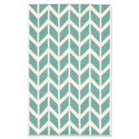 ECARPETGALLERY Zig Zag 5' X 8' Tufted Area Rug in Cream/teal