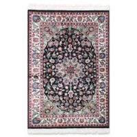 ECARPETGALLERY Silk 4' X 6' Hand-Knotted Area Rug in Black