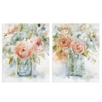 Masterpiece Art Gallery 2-Piece Rose Glow I & II 16-Inch Square Canvas Wall Art