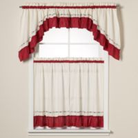 Jayden 36-Inch Window Curtain Tier Pair in Red