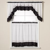 Jayden 24-Inch Window Curtain Tier Pair in Black