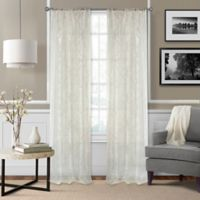 Elrene Montego 95-Inch Burnout Trellis Sheer Rod Pocket Window Curtain Panel in Ivory