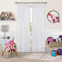 Greta Crushed Sheer Tie Top Window Curtain Panel - 84-Inch - White
