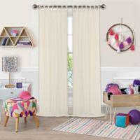 Greta Crushed Sheer Tie Top Window Curtain Panel - 84-Inch - Ivory