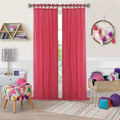 Greta Crushed Sheer Tie Top Window Curtain Panel   84 Inch   Pink