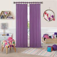 Greta Crushed Sheer Tie Top Window Curtain Panel - 84-Inch - Purple