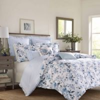 Laura Ashley® Chloe Reversible Full/Queen Duvet Cover Set in Blue