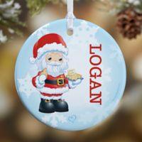 Precious Moments® Santa Glossy Christmas Ornament in Blue