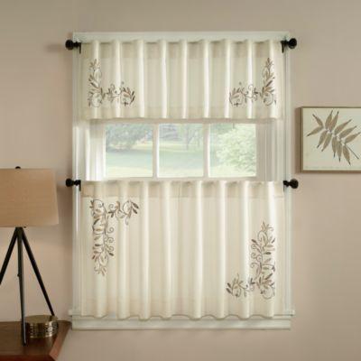 Scroll Leaf Window Curtain Valance In Ivory