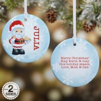 Precious Moments® 2-Sided Santa Glossy Christmas Ornament in Blue