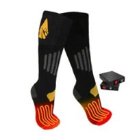 ActionHeat™ Unisex Large/Extra-Large 3.7V Rechargeable Battery Heated Socks in Black/Yellow