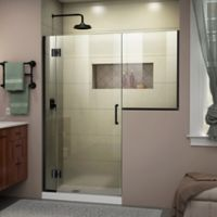 "DreamLine Unidoor-X 53-53.5"" W x 72"" H Frameless Hinged Shower Door in Satin Black"