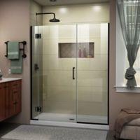 """DreamLine Unidoor-X 52.5-53"""" W x 72"""" H Frameless Hinged Shower Door in Satin Black"""