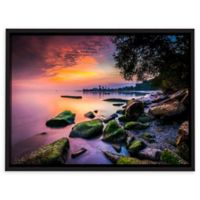 Cleveland Ohio Sunrise at Edgewater Beach 32-Inch x 48-Inch Rectangular Canvas Wall Art