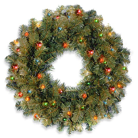National Tree Company 2-Foot Kincaid Spruce Pre-Lit Wreath with Multicolor Lights