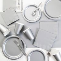 Creative Converting 245-Piece Party Supplies Kit in Silver