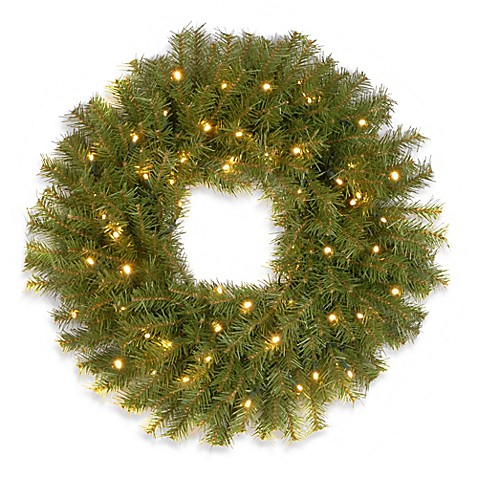 National Tree Company 24-Inch Norwich Fir Wreath with Warm White Lights