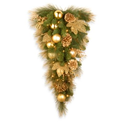 national tree company elegance pre lit teardrop christmas wreath - Bed Bath And Beyond Christmas Decorations