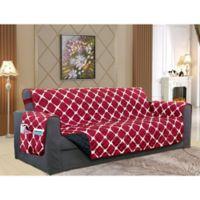 Bloomingdale Sofa Protector in Burgundy/Black